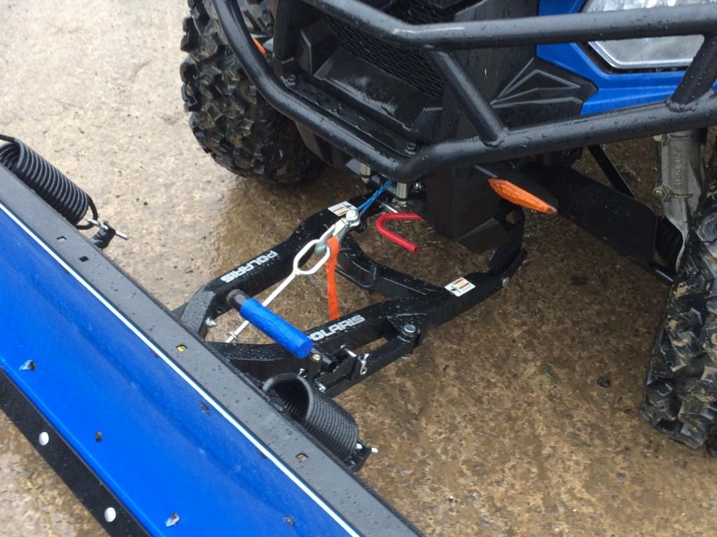 Polaris Glacier ATV Plough system fitted to Polaris Ute