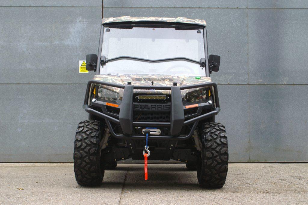 Polaris Ranger EV in camo front view